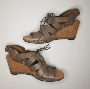 Clark's Collection Sage Leather Cork Wedges